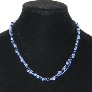 Beautiful blue beaded necklace 20""